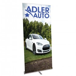 """Pacific Mega Retractable Banner Stand 39.25"""" in Silver"""