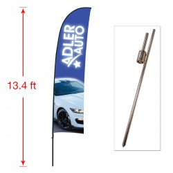 Large Outdoor Curved Flag with Ground Stake