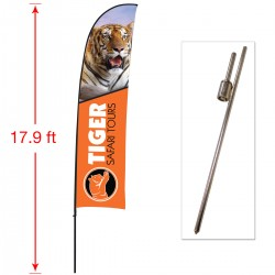 Extra Large Outdoor Curved Flag with Ground Stake