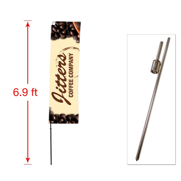 Small Outdoor Straight Flag with Ground Stake