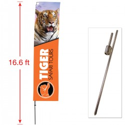 Extra Large Outdoor Straight Flag with Ground Stake