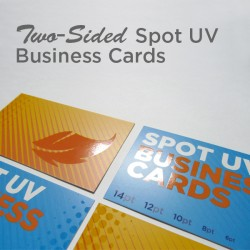 "2"" x 3.5"" Spot UV Business Cards on matte card stock with spot uv on both sides"