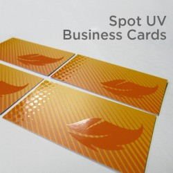 "2"" x 3.5"" Spot UV Business Cards on matte card stock with spot uv on the front only"