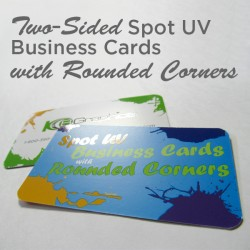 "2"" x 3.5"" Spot UV Business Cards on matte card stock with round corners and spot uv on both sides"