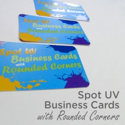 "2"" x 3.5"" Spot UV Business Cards on matte card stock with round corners and spot uv on the front only"