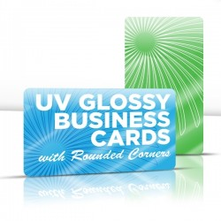 "2"" x 3.5""  UV Glossy Business Cards with round corners & full UV both sides"