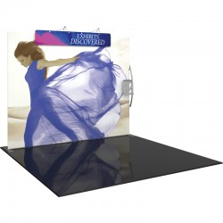 10FT Straight Fabric Trade Show Display with Header, Lights and Literature Pocket
