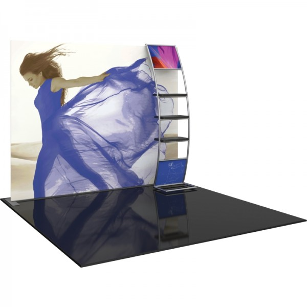10FT Straight Fabric Trade Show Display with Stand-off Shelves