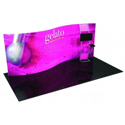 20' Serpentine Trade Show Display with Stand-off Monitor Mount and Side Table