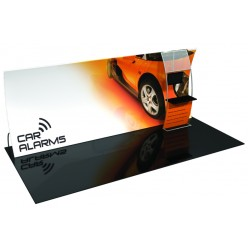 20' Vertically Curved Fabric Trade Show Display with Large Monitor Mount