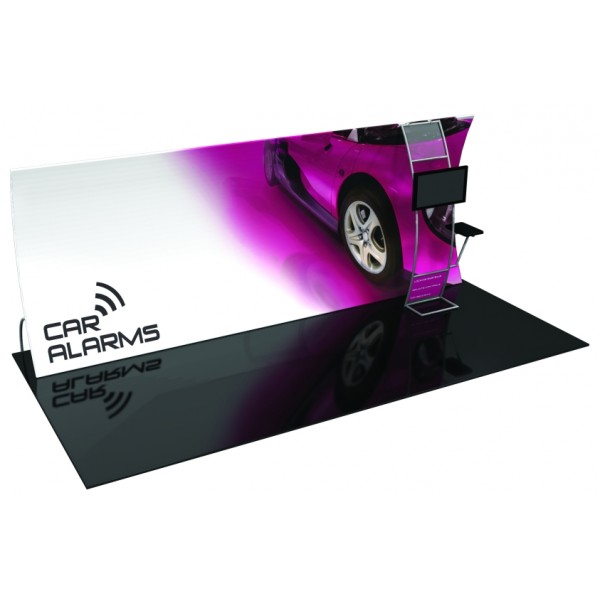 20' Vertically Curved Fabric Trade Show Display with Stand-off Monitor Mount and Side Table