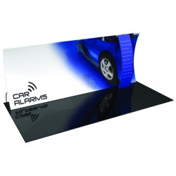 20' Vertically Curved Fabric Trade Show Display with Stand-off Pillow Case Graphic