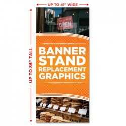 "Economy Banner Stand Replacement Graphic - up to 41"" wide"