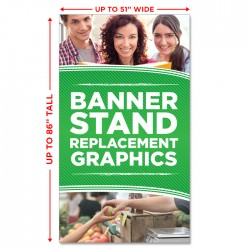 "Economy Banner Stand Replacement Graphic - up to 51"" wide"