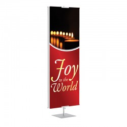 Christmas Candles Joy to the World Banner Stands