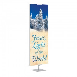 Christmas Winter Trees Jesus Light of the World Banner Stands