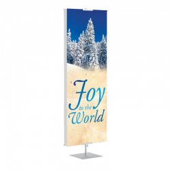 Christmas Winter Trees Joy to the World Banner Stands
