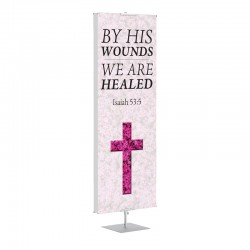 Easter Flower Cross By His Wounds Banner Stands