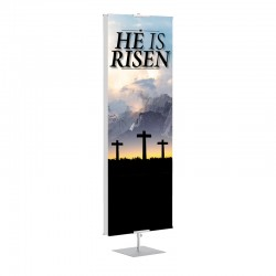 Easter Three Crosses He is Risen Banner Stands