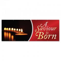 Christmas A Saviour is Born Outdoor Vinyl Banner