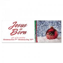 Christmas Jesus is Born Outdoor Vinyl Banner