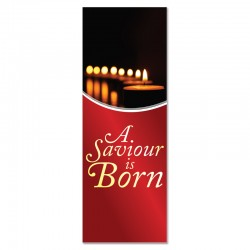 Christmas Candles A Saviour is Born Indoor Vinyl Banner