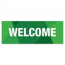Welcome Geometric Green Outdoor Vinyl Banner