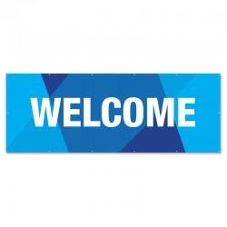 Welcome Geometric Blue Outdoor Vinyl Banner