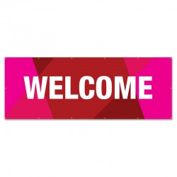 Welcome Geometric Red Outdoor Vinyl Banner