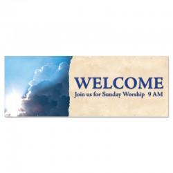 Welcome Clouds Outdoor Vinyl Banner