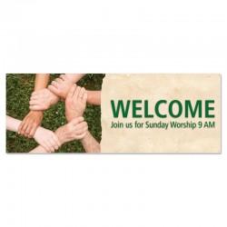 Welcome Hands Outdoor Vinyl Banner