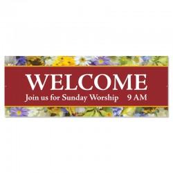 Welcome Flowers Outdoor Vinyl Banner