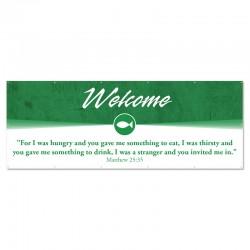 Welcome Quotations Green Outdoor Vinyl Banner