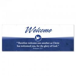 Welcome Quotations Blue Outdoor Vinyl Banner