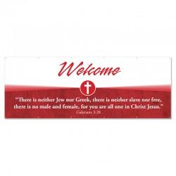 Welcome Quotations Red Outdoor Vinyl Banner