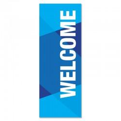 Welcome Geometric Blue Indoor Vinyl Banner