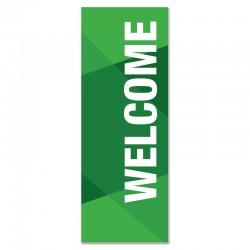 Welcome Geometric Green Indoor Vinyl Banner