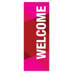 Welcome Geometric Red Indoor Vinyl Banner