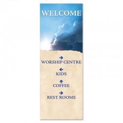 Welcome Directions Clouds Indoor Vinyl Banner
