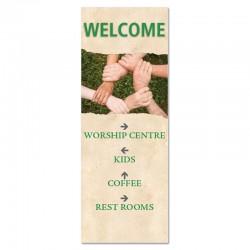 Welcome Directions Hands Indoor Vinyl Banner