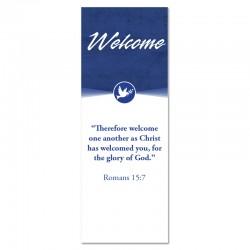 Welcome Quotations 2 Reverse Blue Dove Indoor Vinyl Banner