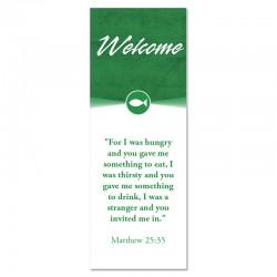 Welcome Quotations 2 Reverse Green Indoor Vinyl Banner