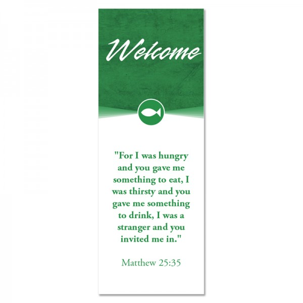 Welcome Quotations 2 Reverse Green Indoor Vinyl Banner