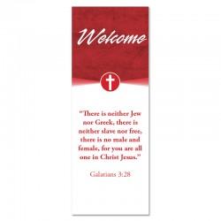Welcome Quotations 2 Reverse Red Cross Indoor Vinyl Banner