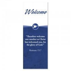Welcome Quotations Blue Dove Indoor Vinyl Banner
