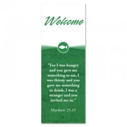 Welcome Quotations Green Indoor Vinyl Banner