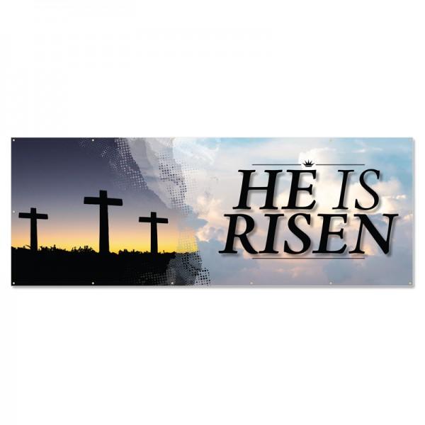 Easter Three Crosses Outdoor Vinyl Banner