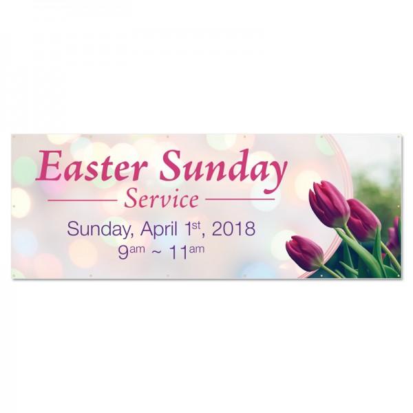 Easter Spring Flowers Outdoor Vinyl Banner