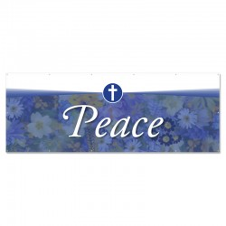 Praise Flowers 2 Blue Peace Outdoor Vinyl Banner