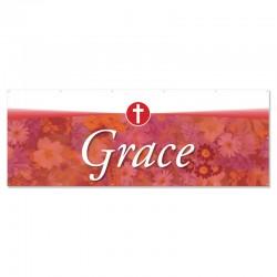 Praise Flowers 2 Red Grace Outdoor Vinyl Banner